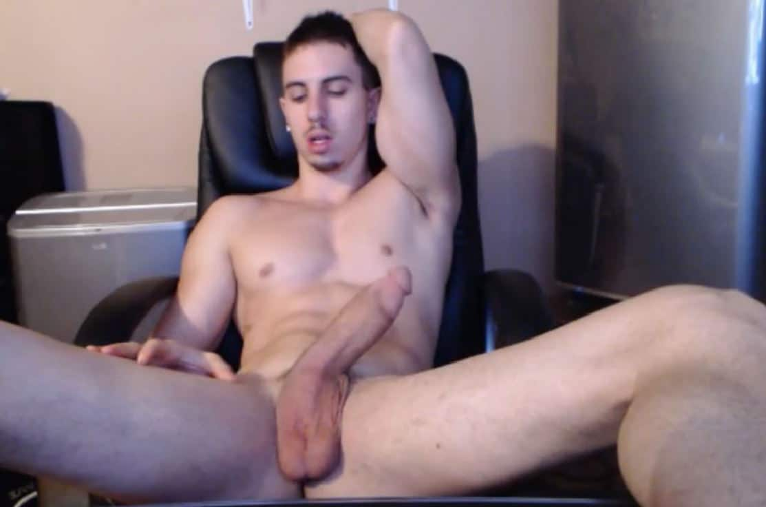 Muscular nude webcam man with a very big fully erected cut penis
